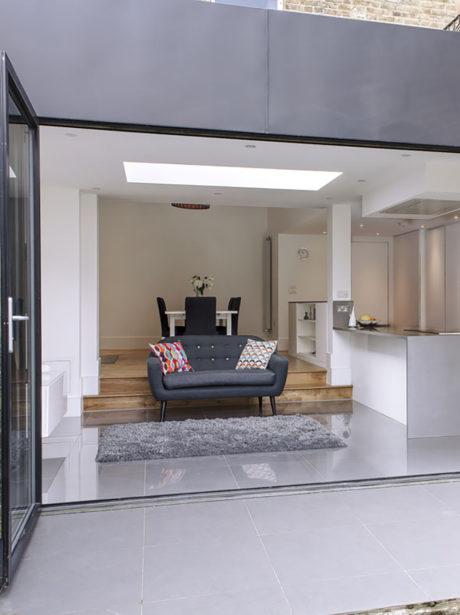 Minimalist kitchen extension in Crouch End